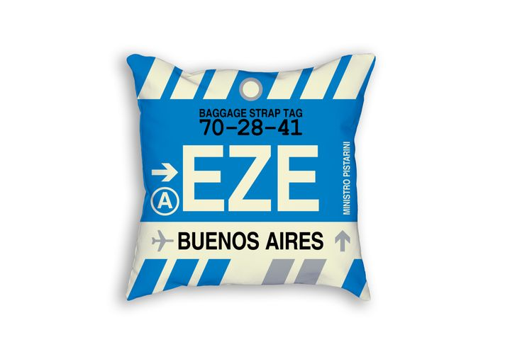 EZE Buenos Aires Airport Code Baggage Tag Pillow