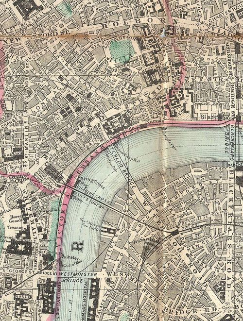 p-emberly:   Pocket map of London, c. 1890  I have a pillowcase of this :)