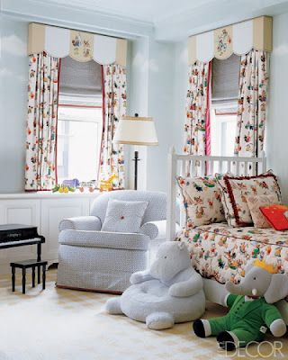 East Hampton summer home.  Could do a version of this with a painted cornice and a different novelty pattern.