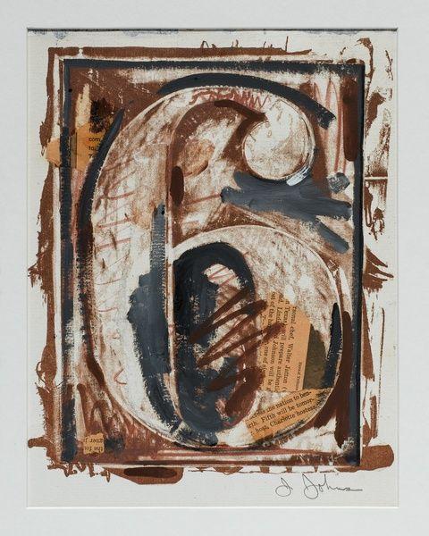Jasper JOHNS  Numbers Série de 10 dessins 1960-1971 Série Six (Six) 1960 - 1971 Lithographie découpée et collée sur papier, retravaillée à la peinture acrylique, collage de papier journal déchiré 32,5 x 29,7 cm Signé en bas à droite au crayon : J.Johns