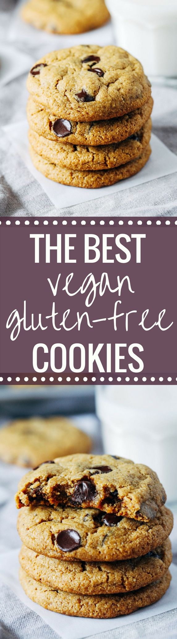 The Best Vegan and Gluten-free Chocolate Chip Cookies- made with a combo of oat flour and almond flour, these cookies have a delightful chewy texture. You would never guess they're made without refined sugar, starches or gums!