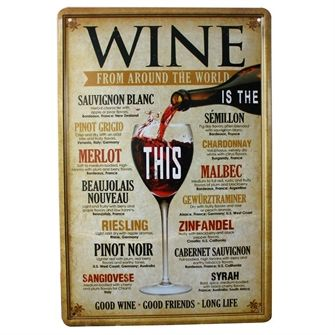 Wine from around the world Skilt. Emaljeskilt med vine
