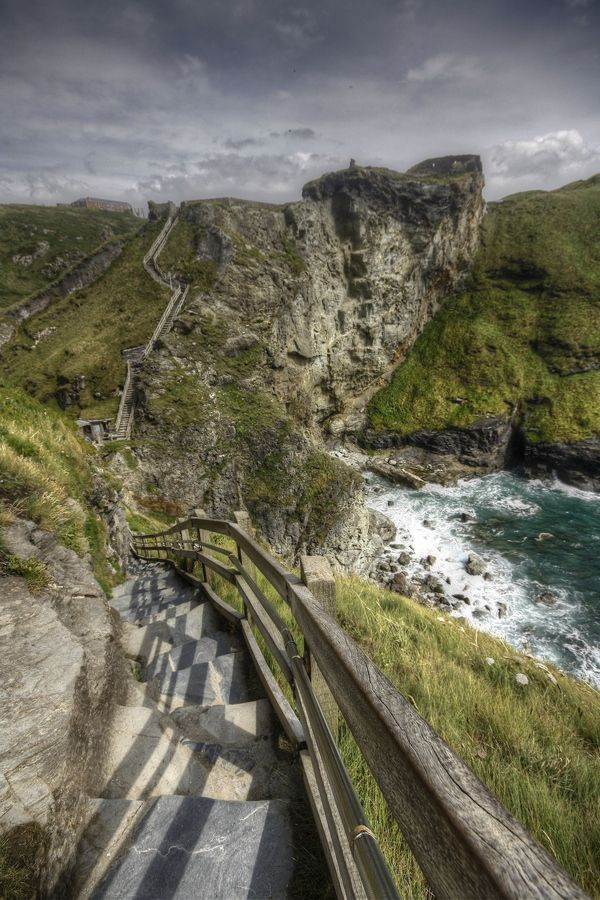 The legend of King Arthur. Tintagel Castle, cornwall. The castle has gone mostly, but the cliffs, steps and paths are dramatic.