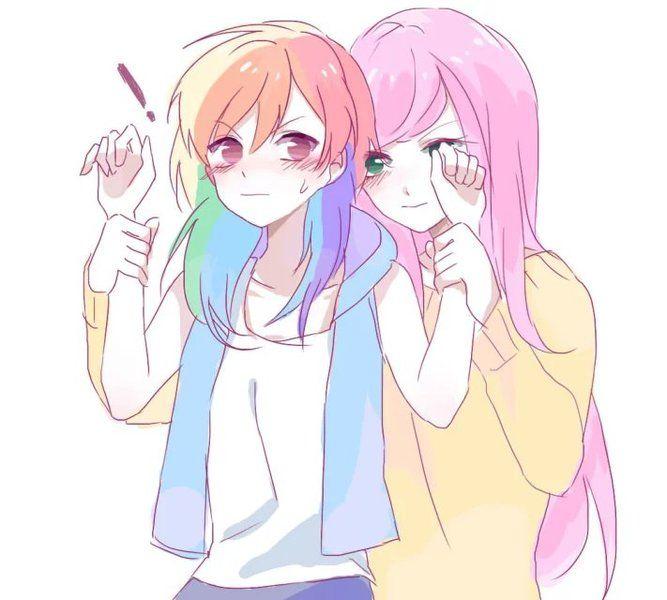 #1386128 - artist:罗斯, exclamation point, flutterdash, fluttershy, humanized, lesbian, rainbow dash, safe, shipping, simple background, white background - Derpibooru - My Little Pony: Friendship is Magic Imageboard