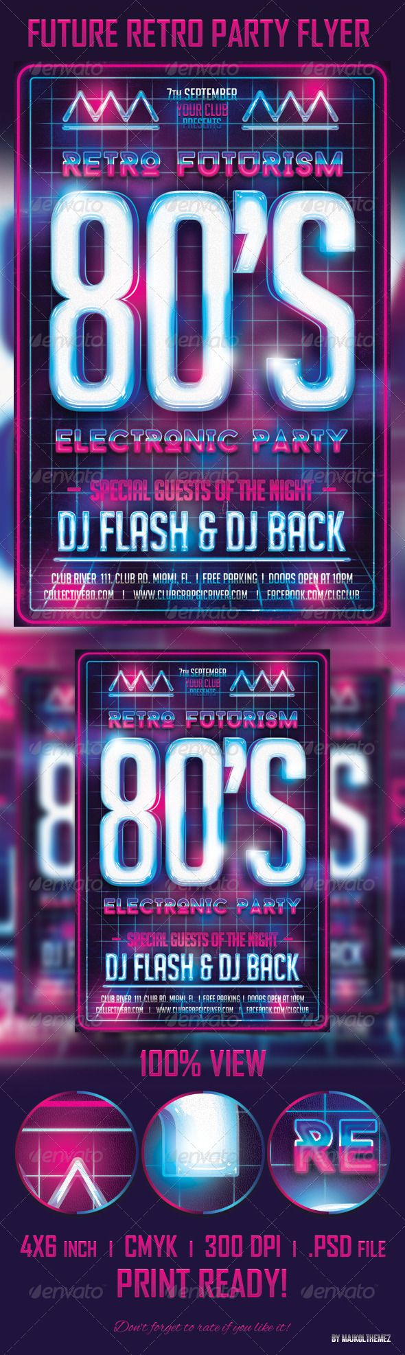 Future Retro Party Flyer Template — Photoshop PSD #electronic flyer #trance • Available here → https://graphicriver.net/item/future-retro-party-flyer-template/5484327?ref=pxcr