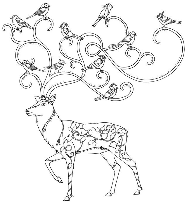 Enchanted Forest Coloring Book 9 Symbols Potential Mural From The Christmas