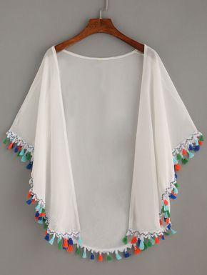 Kimono flecos gasa -blanco