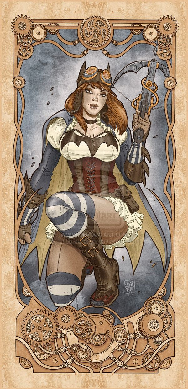 Batgirl Steampunk nouveau by ~LucaMaresca on deviantART | Follow here http://pinterest.com/cakespinyoface/geekery/ for even more Geekery-- art, tech and more!