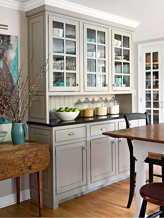 built in kitchen hutch with glass cabinets