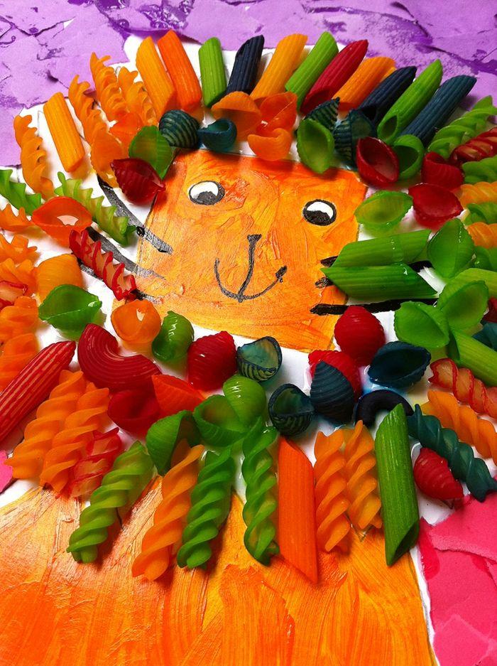 bastelideen diy ideen kinderspiele pasta kunst