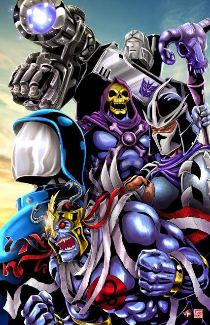 Villanos clasicos de los 80s - Cobra Commander, Mum-ra, Skeletor, Shredder and Megatron