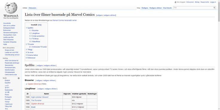 Lista över filmer baserade på Marvel Comics – Wikipedia
