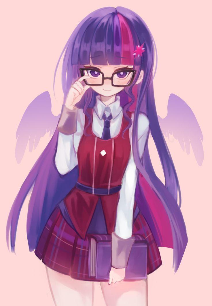 "✮ ANIME ART ✮ ""Anime-ified~!""♪ Twilight Sparkle from My Little Pony: Friendship is Magic. . .school uniform. . .plaid skirt. . .tie. . .book. . .glasses. . .long hair. . .purple hair. . .wings. . .cute. . .kawaii"