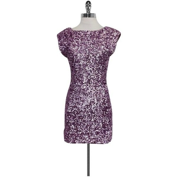 Pre-owned Alice & Olivia Lavender Sequin Dress (€83) ❤ liked on Polyvore featuring dresses, purple, lavender party dress, lavender cocktail dress, cocktail party dress, sequin cocktail dresses and purple dress