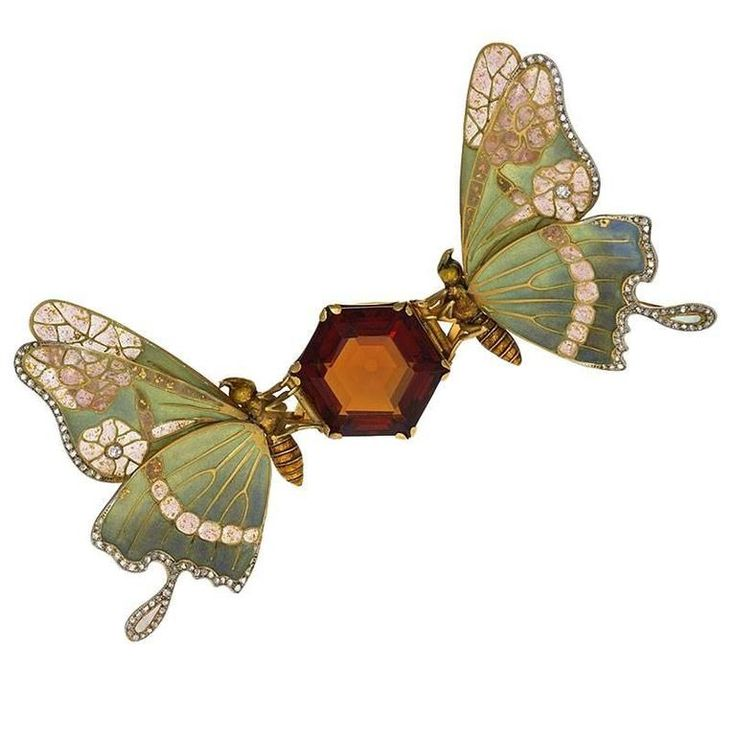 French Art Nouveau Topaz, Diamond and Enamel Butterfly Brooch | From a unique collection of vintage brooches at https://www.1stdibs.com/jewelry/brooches/brooches/