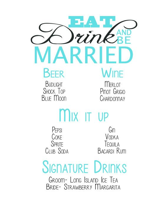 Wedding drink menu sign  digital download by InnovativeGoodies, $9.00