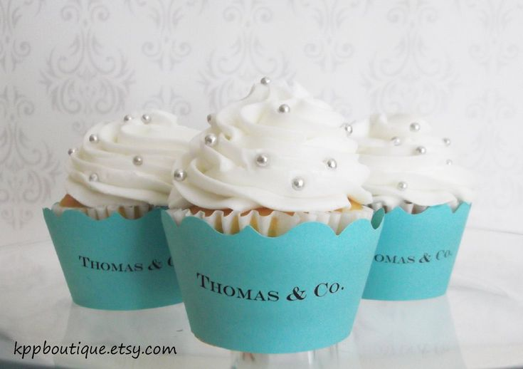 Our Personalized Cupcake Wrappers make the perfect addition to any Tiffany's or Breakfast at Tiffany's themed event. Your wrappers laser printed on tiffany blue cardstock and handcut. These fit standa