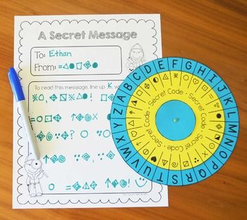 Secret code wheel - can use for spelling practice, writing activities, word…