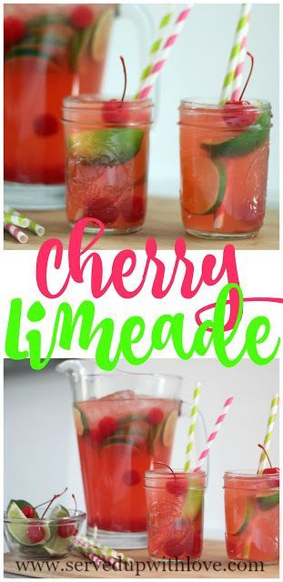 Cherry Limeade recipe from Served Up with Love. Super simple ingredients come together to make a super refreshing summer time drink. www.servedupwithlove.com