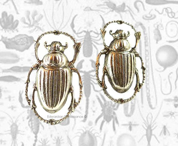 Cufflinks Egyptian Scarab Beetle Antique by EdwardianRenaissance, $35.00