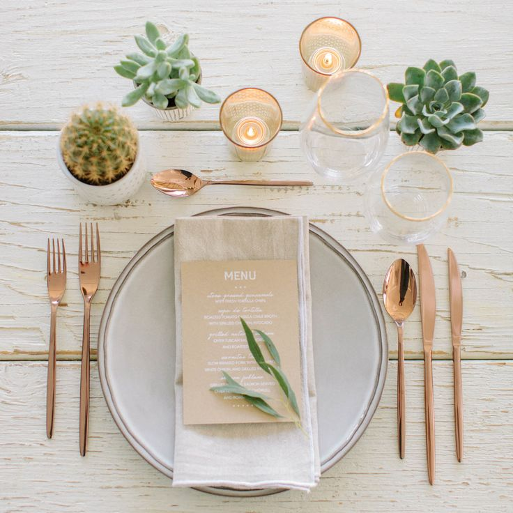 Bronze with neutrals and succulent green!  http://www.stylemepretty.com/living/2015/05/05/a-modern-mexican-soiree/