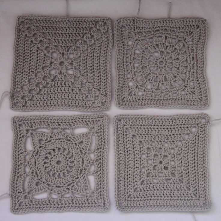 Monochromatic crochet Squares. Love these.