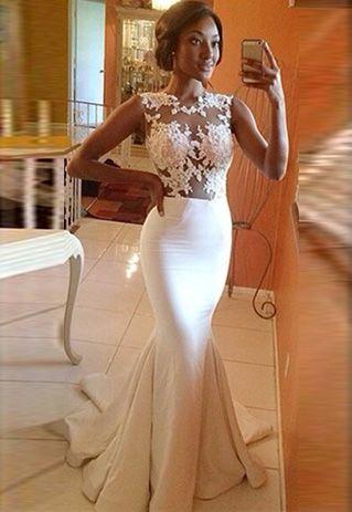 Sexy Vestido de Sirena de Encaje Blanco Empalamdo Gasa Transparente