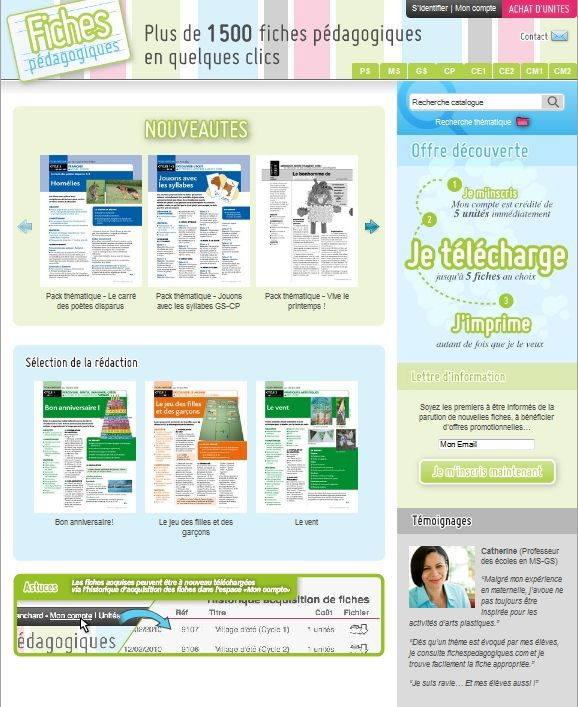 Fichespédagogiques.com met à votre disposition un catalogue de plus de 1 500 fiches pédagogiques de la très petite section de maternelle jusqu'au CM2.