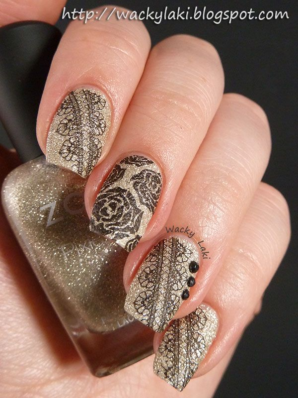 Delicate Print ~ I started out with a base of Zoya Tomoko from the Fall collection. When it was all dry, I stamped the lace and rose patterns from Bundle Monster plate BM-323 using Essence Stamp Me! Black.  I accented the ring finger with a few black studs that I purchased on Ebay. ~ by Wacky Laki