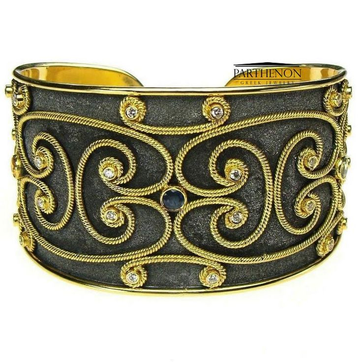 Parthenon Greek 18k Black Gold - Cuff Bracelet- Parthenon Greek Jewelry