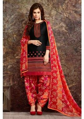 Black Cotton Patiala Salwar Kameez, - £31.00, #IndianDresses #SalwarKameez #FashionUK #Shopkund