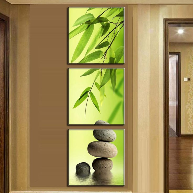 3 Pcs Set Artist Canvas Still Life Painting Bamboo And Stone Vertical Forms Prints Wall Pictures For Living Room Picture