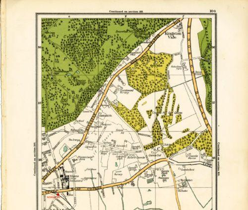1928-London-Original-Street-Map-Kingston-Vale-Coombe-Norbiton-New-Malden-R-104