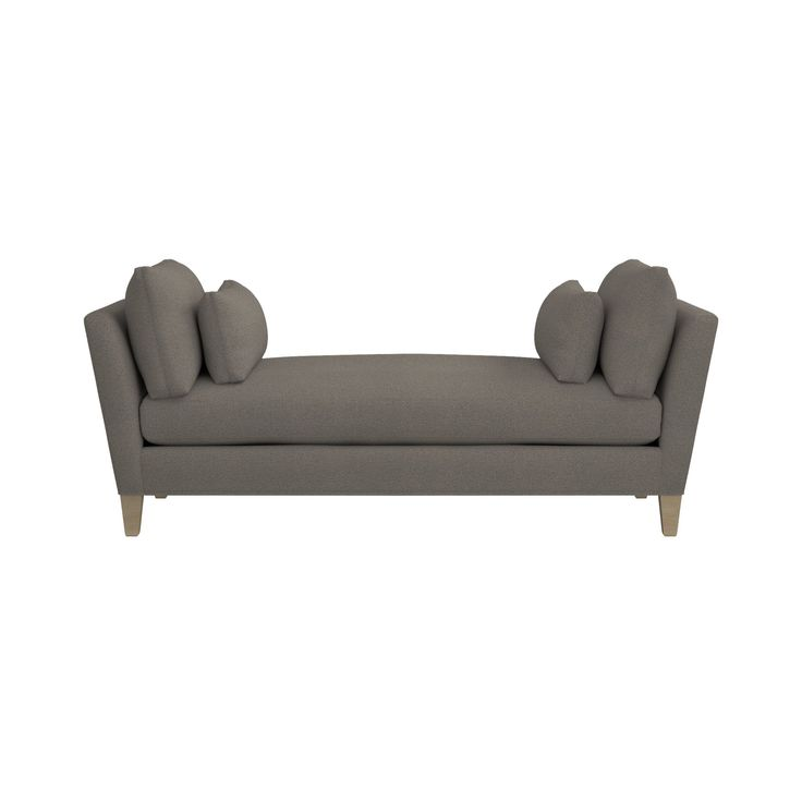 Shop Marlowe Upholstered Daybed.   Upholstered in a synthetic, velvet-soft chenille, its graceful, flared arms and sink-in bolster pillows—two large, two small—frame a comfortable bench seat equivalent in size to a twin mattress. Check out our .
