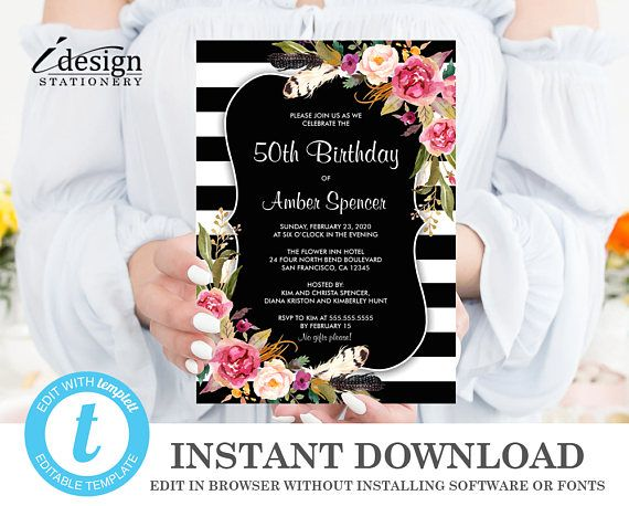129 best birthday party invitation templates images on pinterest instant download birthday invitation editable floral stripe 50th birthday party invitations editable template stopboris Gallery