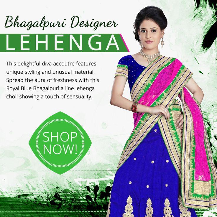 Shop our beautiful Intriguing Bhagalpuri Designer Lehenga In Royal Blue Colour.  #bhagalpuri #lehenga #royal