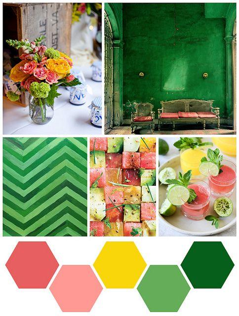 color palette oranje geel groen