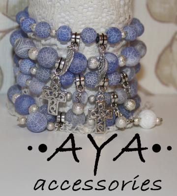 """A set of bracelets """" Blue & Silver"""" by AYASHOP for $69.00"""