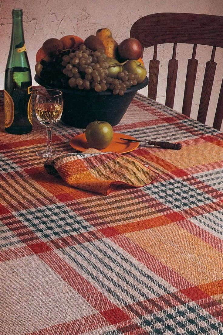 Using four shafts, you can weave a tablecloth twice as wide as your loom! Get this pattern plus 9 more doublewidth projects in this eBook!