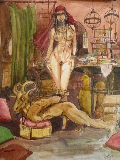 Acquerello strega caprone demone