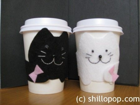 Cozy Coffee felt Cup Sleeve The Cat how to free PDF Pattern