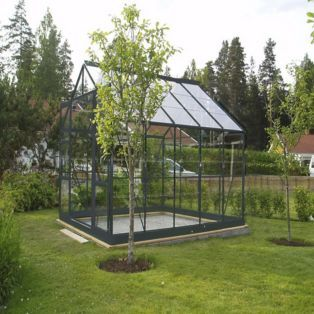 Serre en verre Sécurit 7,42m2 de surface au sol Transparent / gris anthracite prix promo Serre pas cher Alinéa 1 139.00 €
