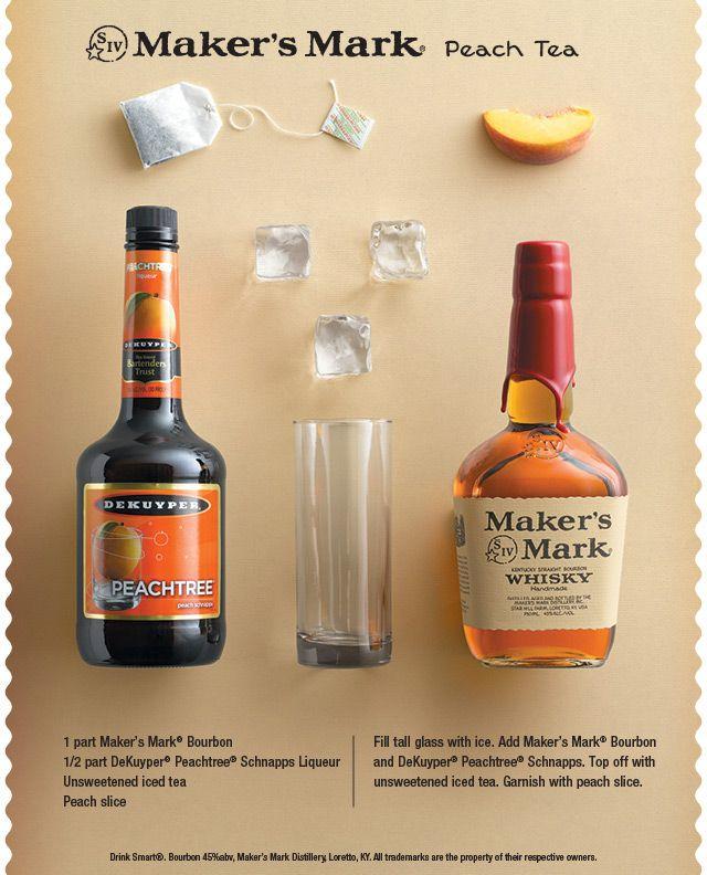 Maker's Mark Peach Tea - #Bourbon #Peach Schnapps Unsweetened Iced #Tea