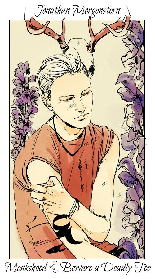 Sebastian with monkshood, The language of flowers (picked by C.Clare, art by C.Jean)