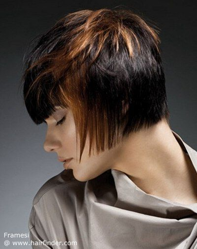 short haircut with a straight cutting line in the neck