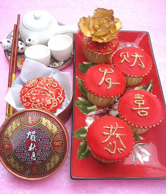 Chinese New Year tea service with red and gold decorated cupcakes ----------- #china #chinese #chinesenewyear