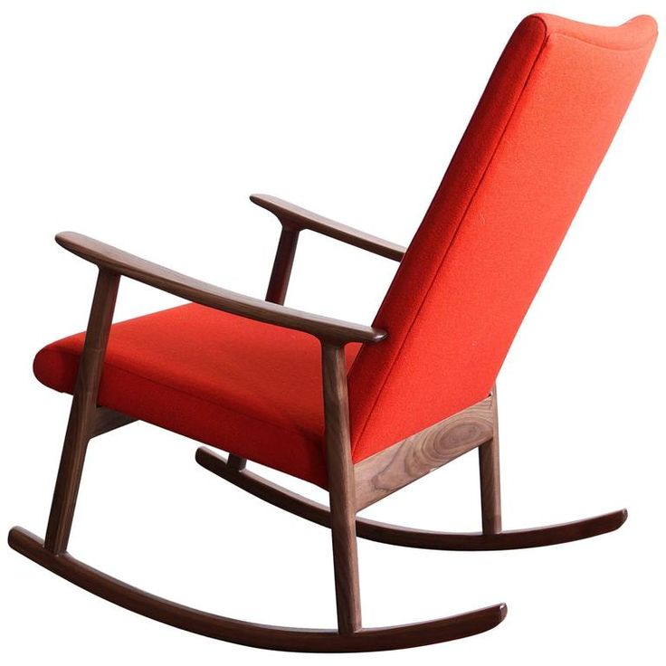 RC01 Upholstered Rocking Chair in Black Walnut, by Jason Lewis Furniture | From a unique collection of antique and modern rocking chairs at https://www.1stdibs.com/furniture/seating/rocking-chairs/
