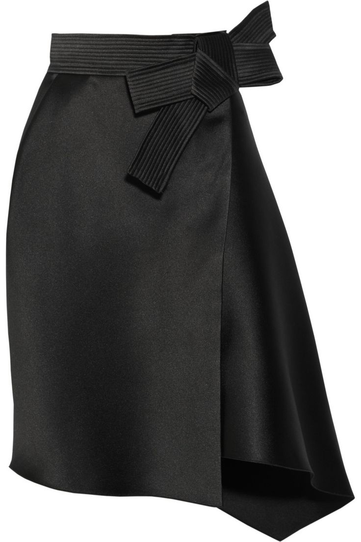 Lanvin Duchesse Satin Bow Skirt in Black | Lyst