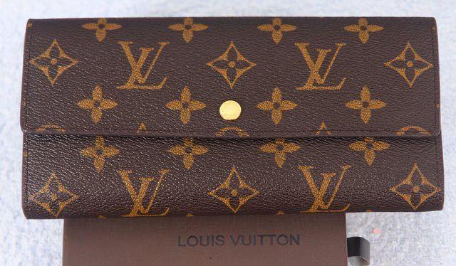 Кошелек Louis Vuitton LV коричневый с монограммами кожаный. Размер 19х10х2см #18503