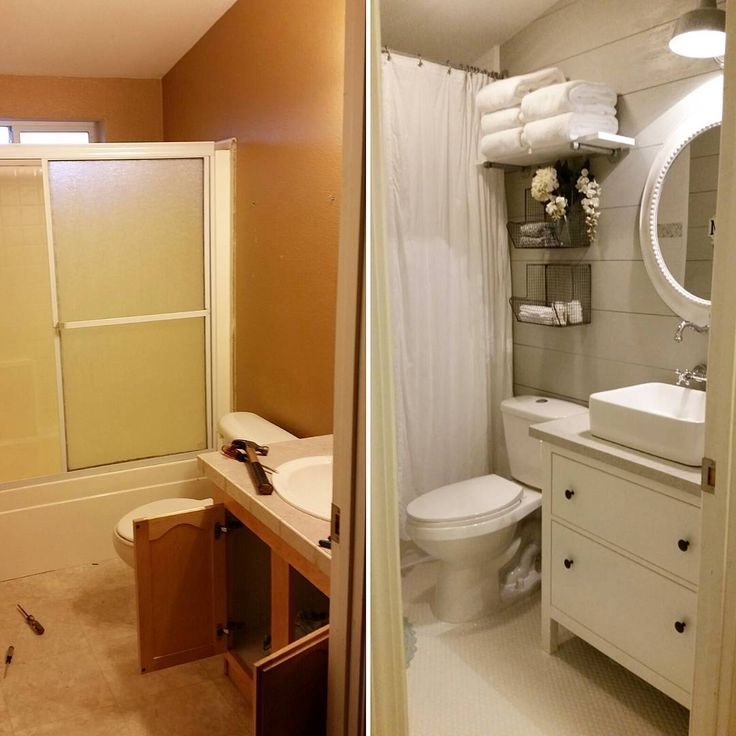 8 best images about diy remodel on pinterest farmhouse style bathrooms hobby lobby and for Diy bathroom remodel before and after